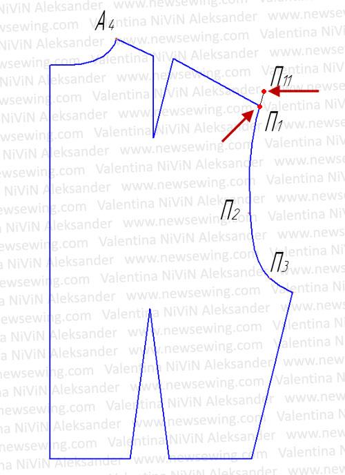 Базовая выкройка основы лифа Линия плеча спинки