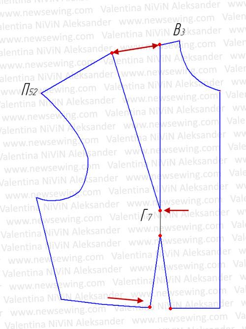 Базовая выкройка основы лифа Возвращаем в исходное положение нагрудную вытачку