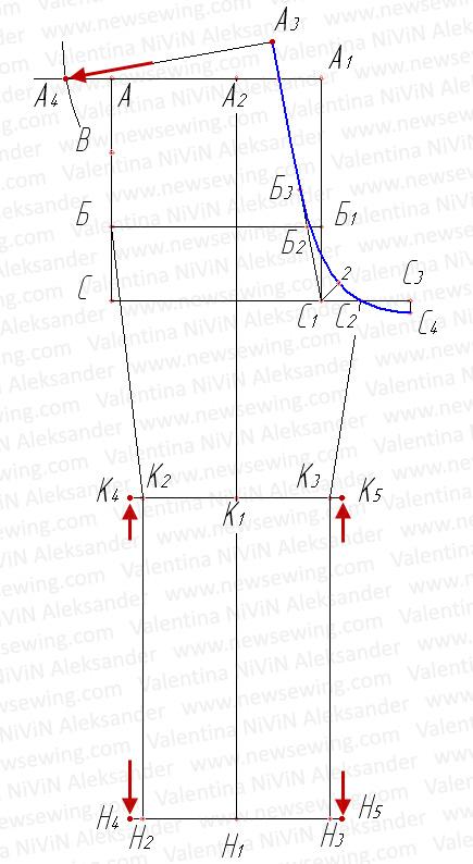 Линия талии Ширина по линии колена Ширина по линии низа