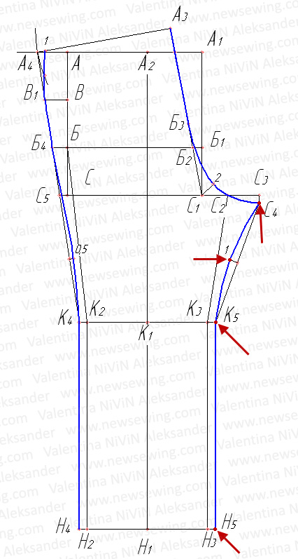 Линия бокового шва детских брюк