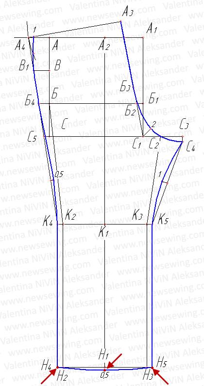 Оформление низа задней половинки брюк