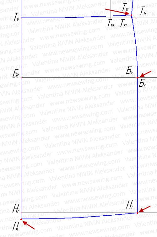 Построение боковой линии в области бедер и линии низа переда.