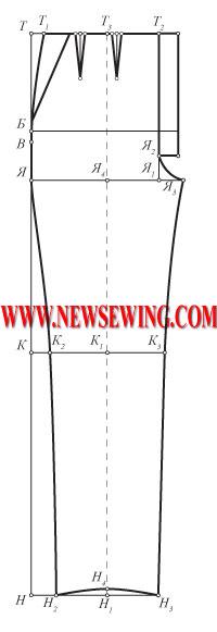 Выкройка детских брюк от 3-х до 16-ти часть 1 (пошаговое построение передней половинки).