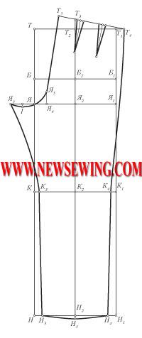 Выкройка детских брюк от 3-х до 16-ти часть 2  (пошаговое построение задней половинки).