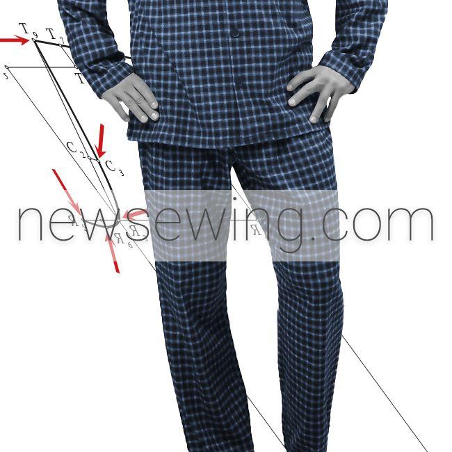 Построение выкройки мужской пижамы. Часть 1. Брюки. Пошаговая инструкция.