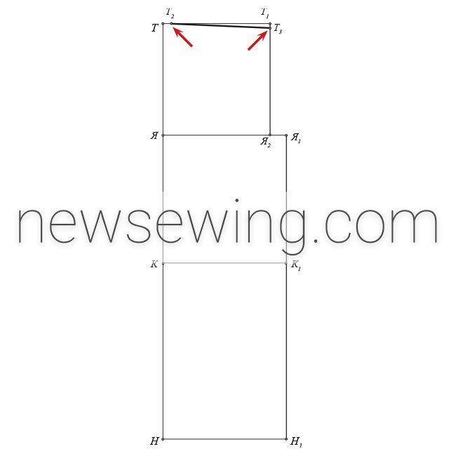 Мужская пижама Линия верхнего среза передней половинки брюк (линия притачивания пояса)
