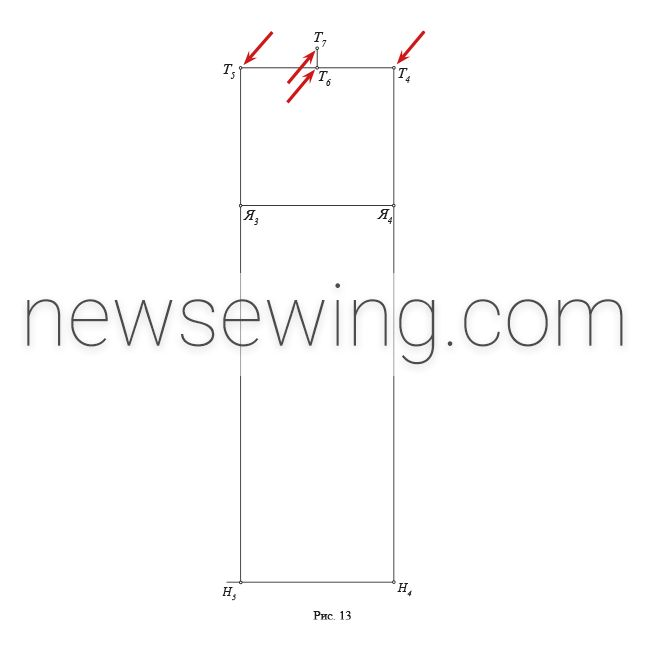 Мужская пижама Линия верхнего среза задней половинки брюк (линия притачивания пояса)