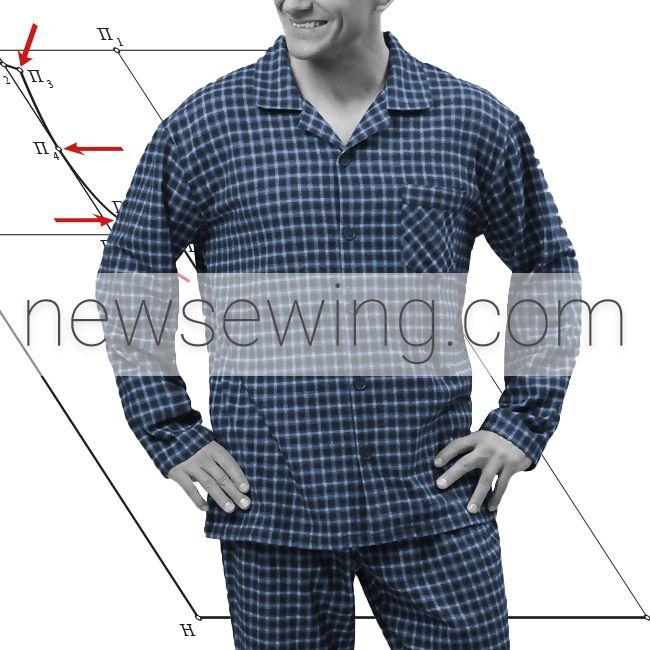 Построение выкройки мужской пижамы. Часть 2. Сорочка. Пошаговая инструкция.