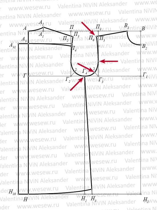Выкройка рубашки для мальчика 8-10 лет.  Пошаговое построение выкройки.