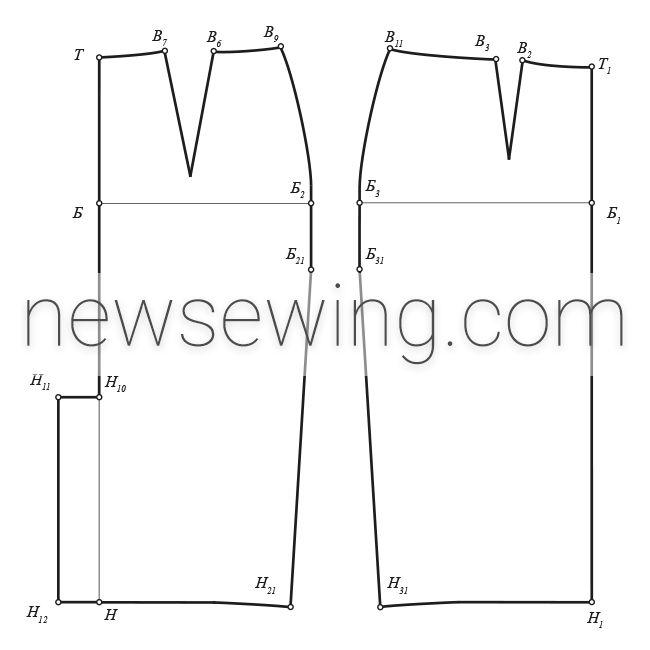 Переднее и заднее полотнища юбки-карандаш