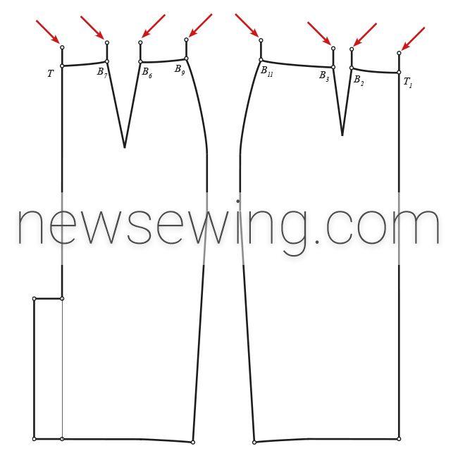 Верхний срез пояса юбки-карандаш