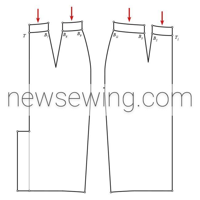 Выкройка юбки-карандаш с цельнокроеным поясом