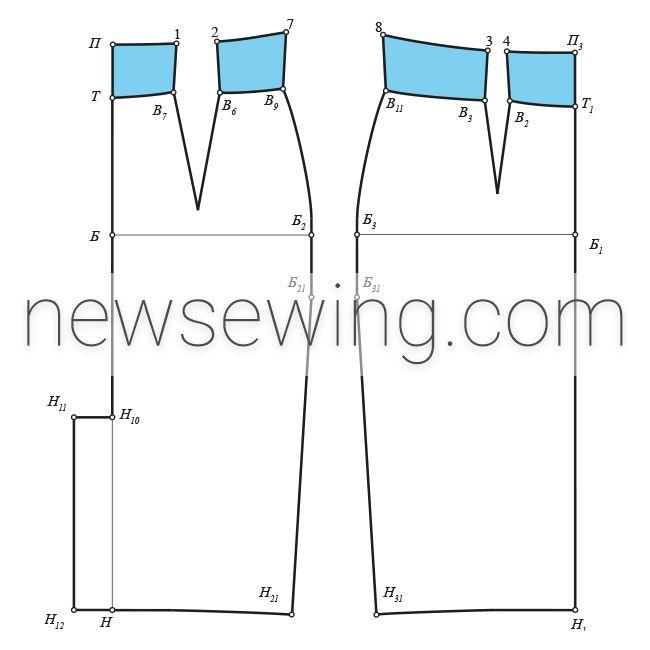 Обтачка пояса юбки-карандаш