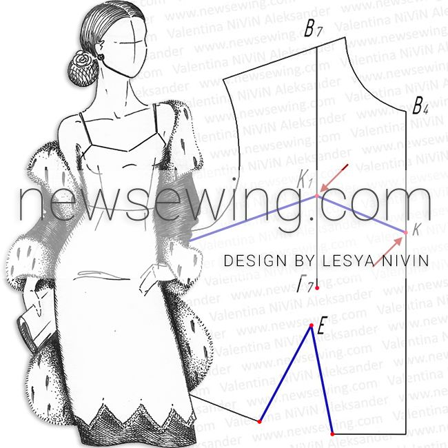 Как построить выкройку платья на бретеля
