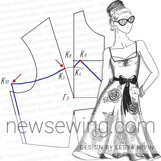 Как построить выкройку платья на бретелях