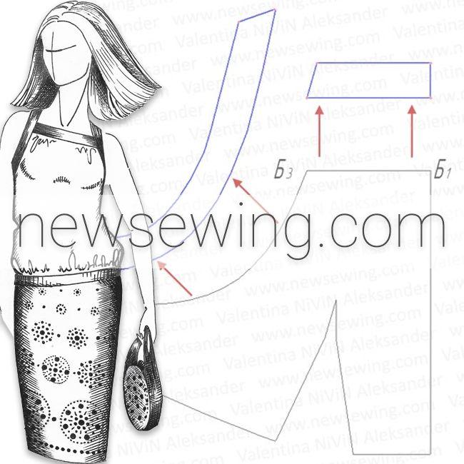 Как построить выкройку блузы на бретелях