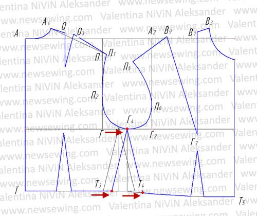 Боковую линию лифа переносим на середину проймы.