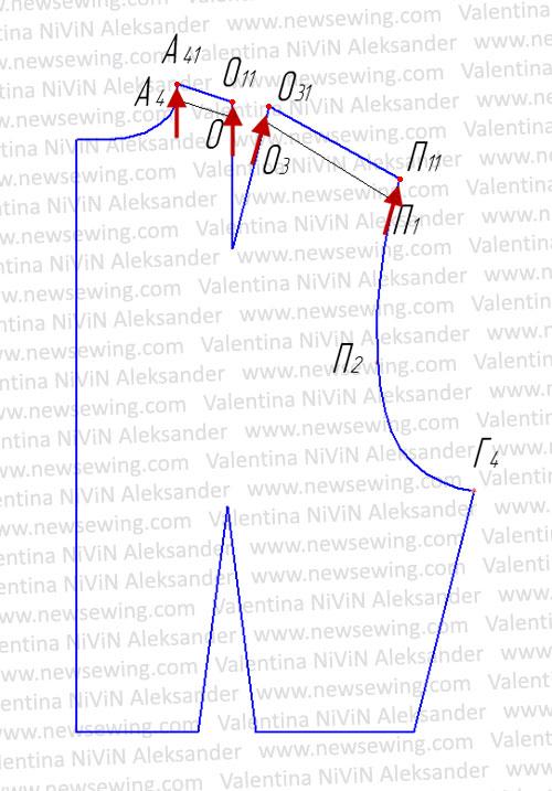 Боковую линию лифа переносим на середину проймы