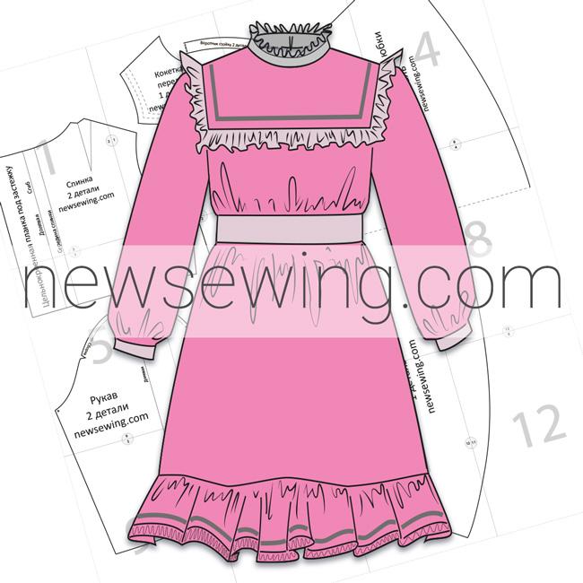 Скачать бесплатно готовую выкройку детского платья