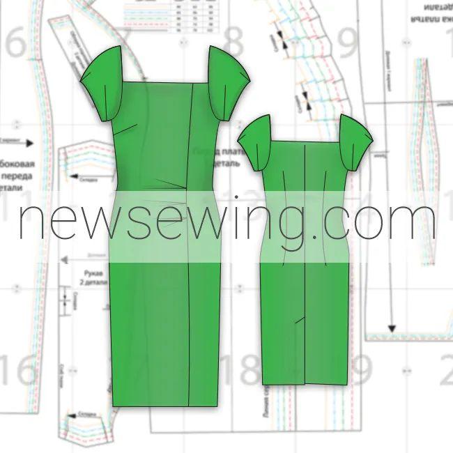 Готовая выкройка летнего платья в пяти размерах. Обхват груди 80-96 см