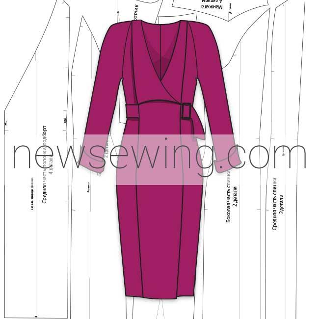 Выкройка платья с вертикальными рельефами и рукавом реглан