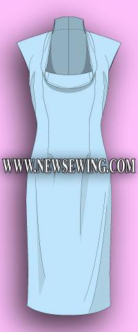 Выкройка платья для женщин с обхватом груди от 100 см до 122 см.