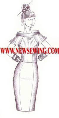 Выкройка юбки-карандаш с рельефами
