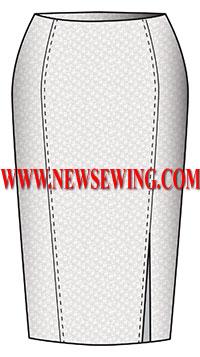 Выкройка юбки-карандаш с разрезом в рельефе переда (обхват талии 74см, обхват бедер 98см)
