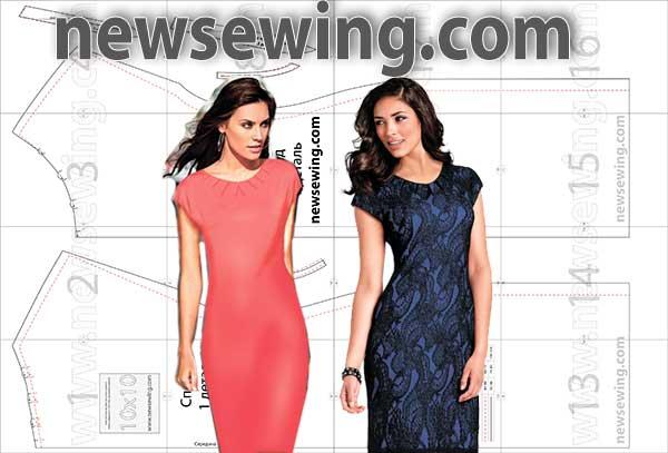 Выкройка платья со складкой из горловины