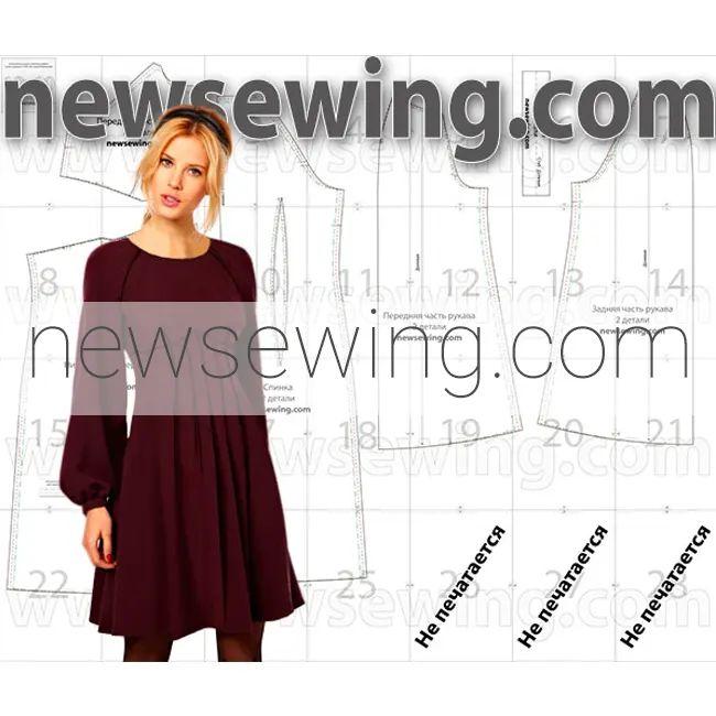 Выкройка молодежного платья с рукавом реглан