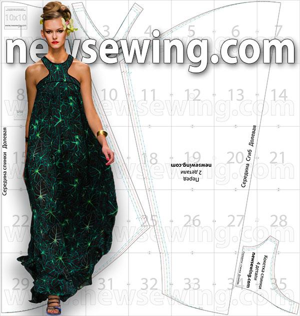 Выкройка длинного платья-сарафана для летнего отдыха