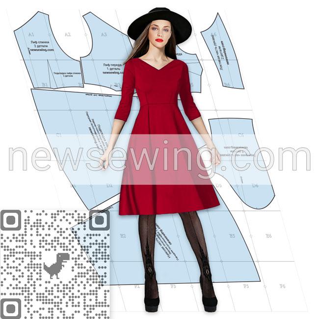 Скачать бесплатно выкройку платья с V-образным вырезом горловины